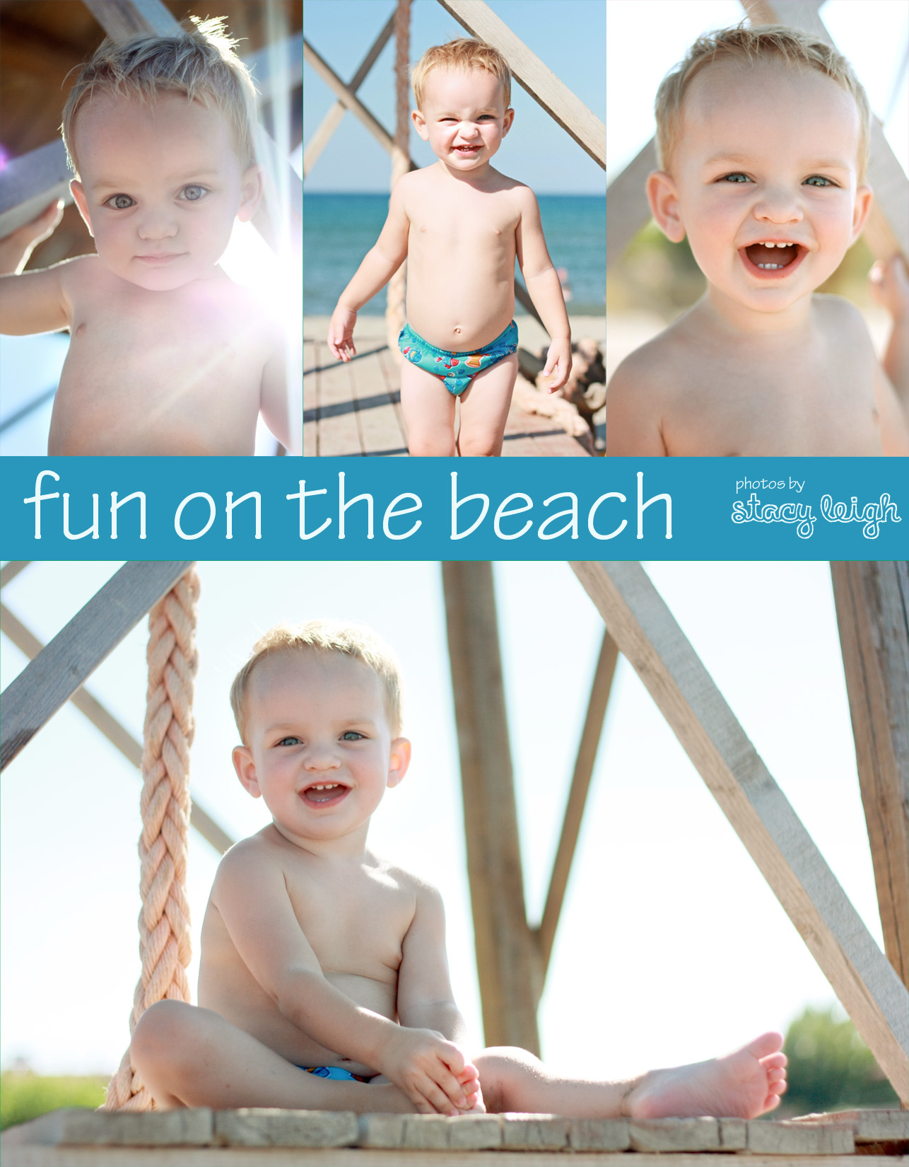 pictures of my toddler on the beach combined into a collage